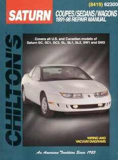 Saturn Coupes/sedans/wagons 1991-02 Chilton Manual