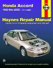 Haynes Repair Manual For Honda Accord 1998-2002