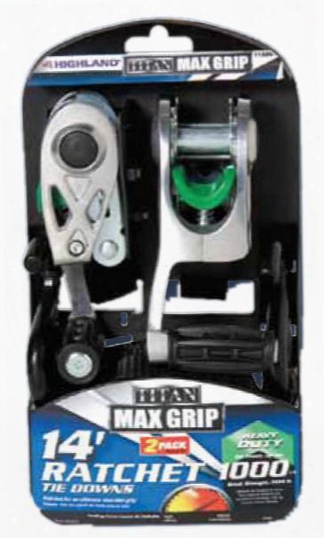 "Titan Max Grip Heavy Duty 14"" Ratchet Tie Down Pair"