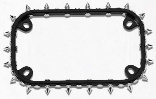 Black/chrome Spikes Motorcycle License Plate Fraame