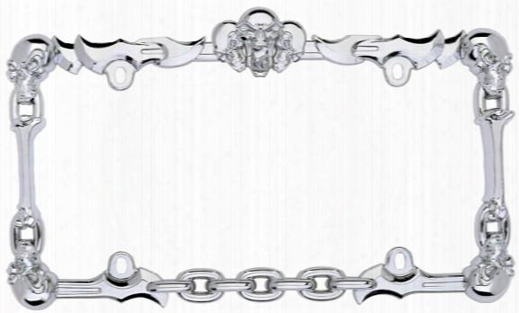 Chrome Skull & Bones License Plate Frame