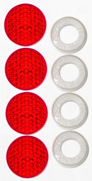 License Plate Fastener Red Reflective Caps Set Of 4