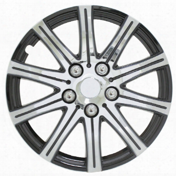 """Pilot Automotive Stick Silver 15"""" Wheel Cover With Black Accent Set Of 4"""