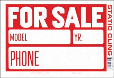 """Red & White Static Cling For Sale Sign 8"""" X 12"""""""