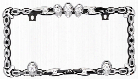 Skull & Chain Black/chrome License Plate Frame