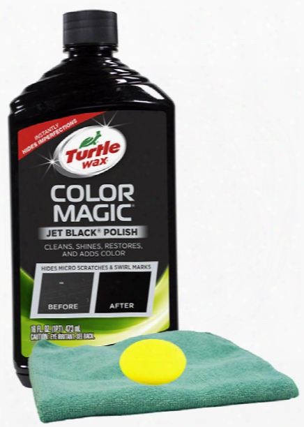 Turtle Wax Color Magic Black Car Polish 16 Oz Microfiber Cloth & Foam Pad Kit