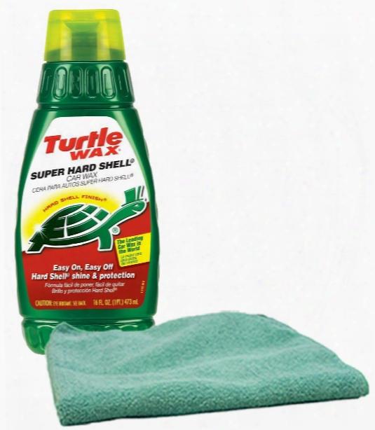 Turtle Wax Super Hard Shell Liquid Wax 16 Oz. & Microfiber Cloth Kit