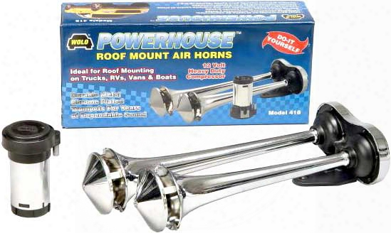 Wolo Powerhouse Roof Mounted Chrome Dual Trumpet Air Horn