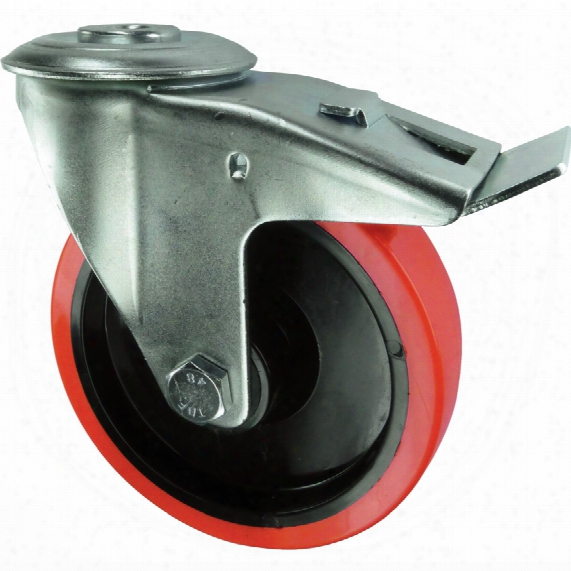 Atlas Workholders Braked Swivel Bolt Hole 1 00mm Polyurethane Tyre