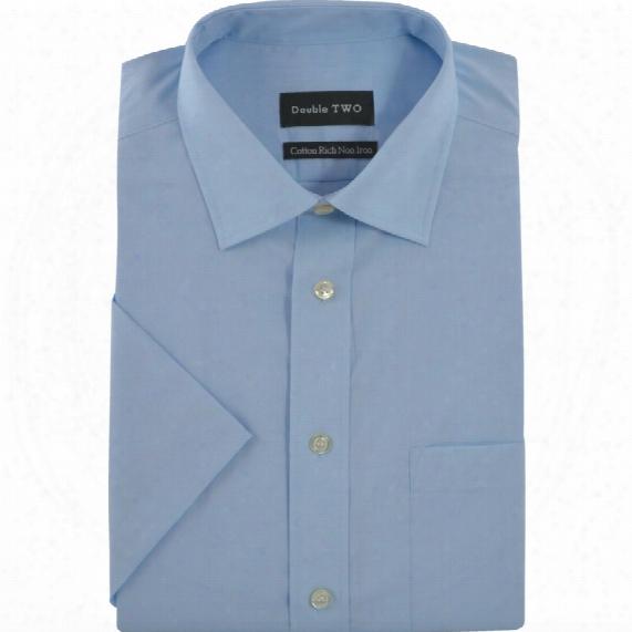 Double Two Poplin Shirt - Short Sleeve - Glacier 14.5