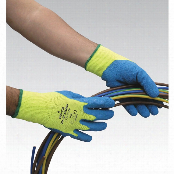 Polyco 903-mat Matrix Hi-vis Palm-side Coated Yellow/blue Gloves - Size 9