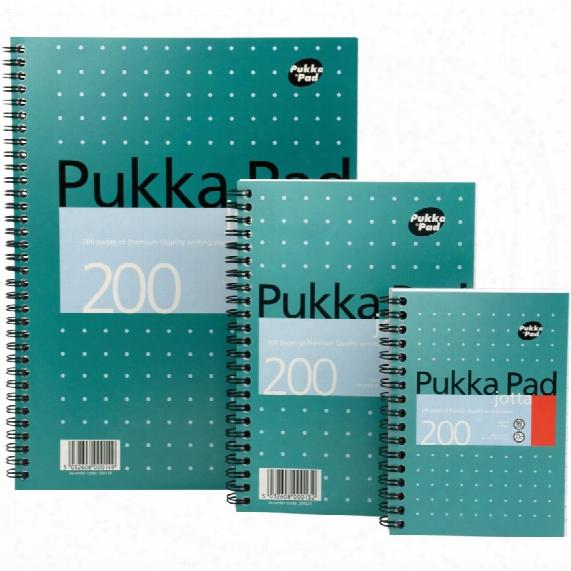 Pukka Pad Pukka A4 Jotta Metallic Pad 200-pg - Ruled (pk-3)