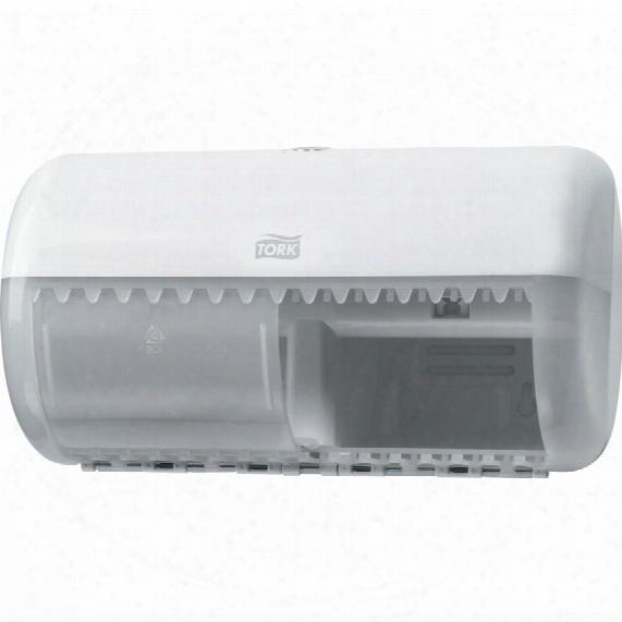557000 Tork White Twin Toilet Roll Dispenser