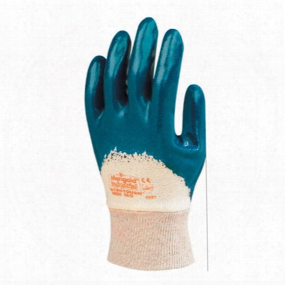 Marigold N63 Nitrotough 3/4 Coated Blue/white Gloves - Size 10
