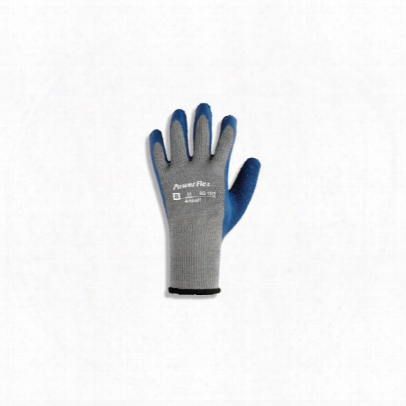 Ansell 80-100 Powerflex Palm-side Coated Blue/grey Gloves - Size 9