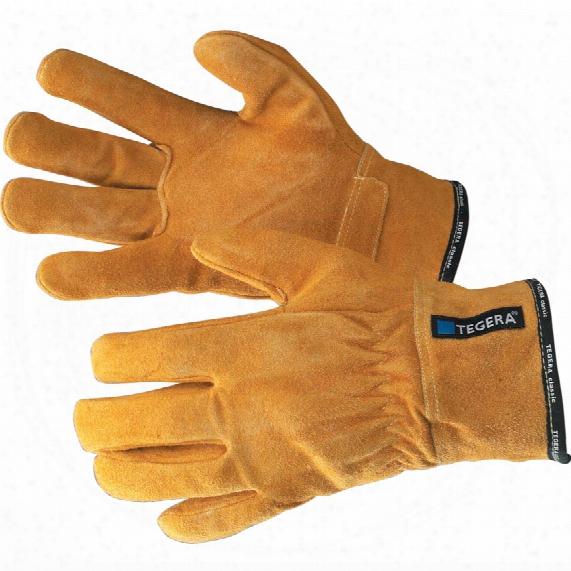 Ejendals 17 Tegera Heat Resistant Split Grain Cowhide Gloves Yellow Size-10