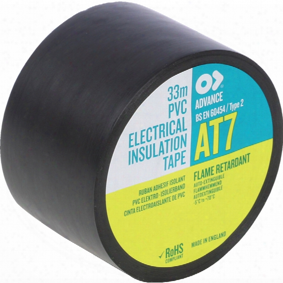 Advance At7 50mmx33m Black Pvcinsulating Tape
