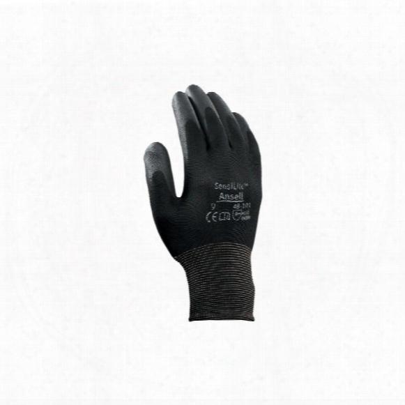 Ansell 48-101 Sensilite Palm-side Coated Black Gloves - Size 7