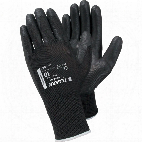 Ejendals 866 Tegera Palm-side Coated Black Gloves - Size 8