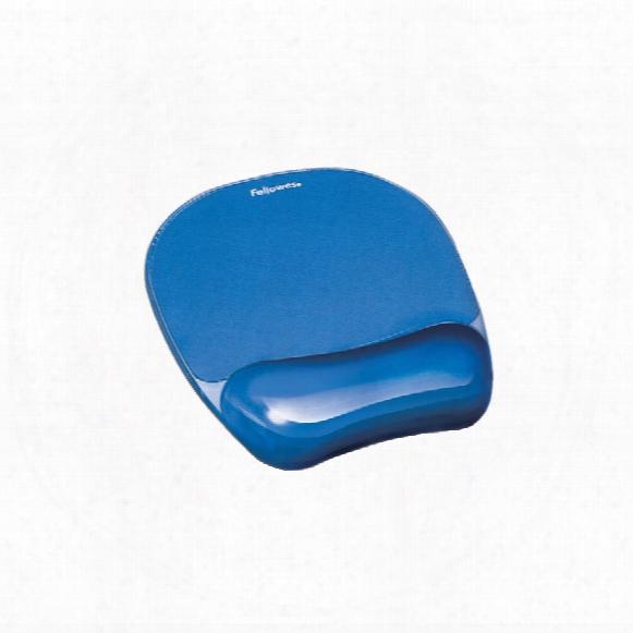 Fellowes Crystal Gel Mousepad Wrist Rest Blue