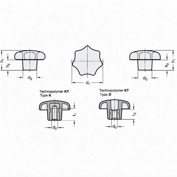 Ganter Din6336-kt-63-m12-d Star Knob; Plastic; Thr' Bpre