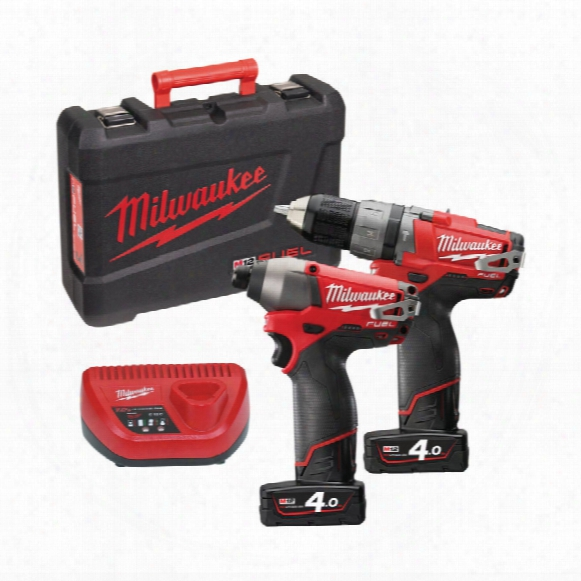 Milwaukee M12pp2a-402c - 12v Compact Percussion Drill & Impact Driver Twin Pack