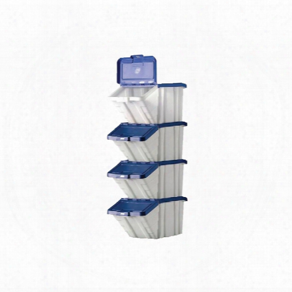 Workshop Multi-functional Containers Blue Lids 50l Pk4