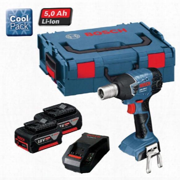 Bosch Gds 18v-li Impact Wrench 2x5.0ah L-boxx