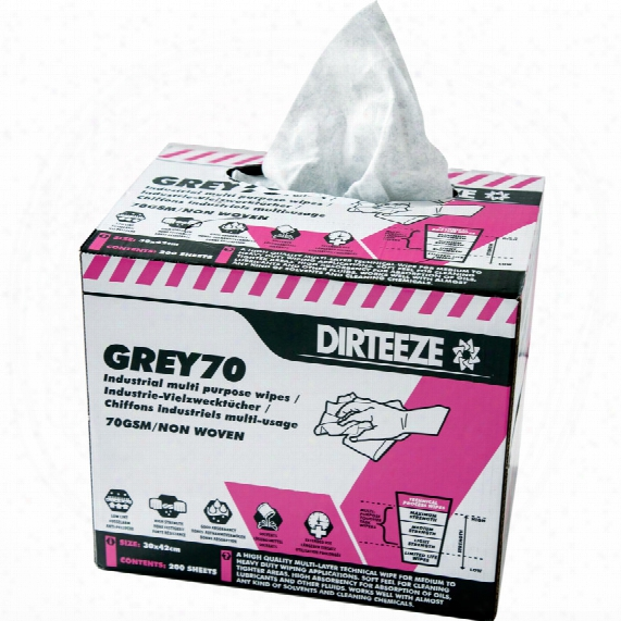 Dirteeze Industrial Grey Wipes Box 200 Sheets