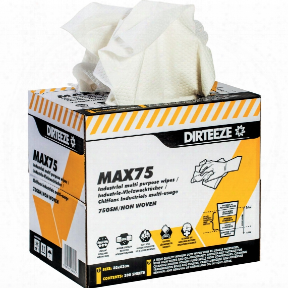 Dirteeze Medium Strength Multi-purposenon-woven Wipes Box 200 Sheets