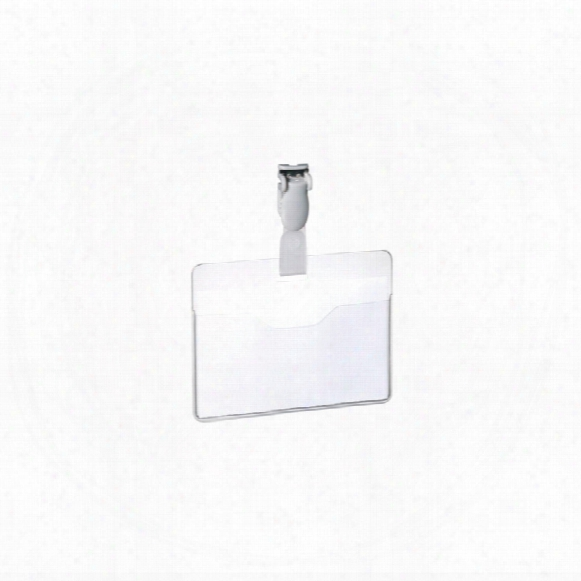 Durable 60x90mm Visitors Badge With Clip Clear (pk-25)
