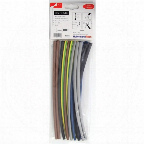 Hellermanntyton 3:1 Heatshrink Tubing 15 Pieces, 5 Mixed Colours, 6/2