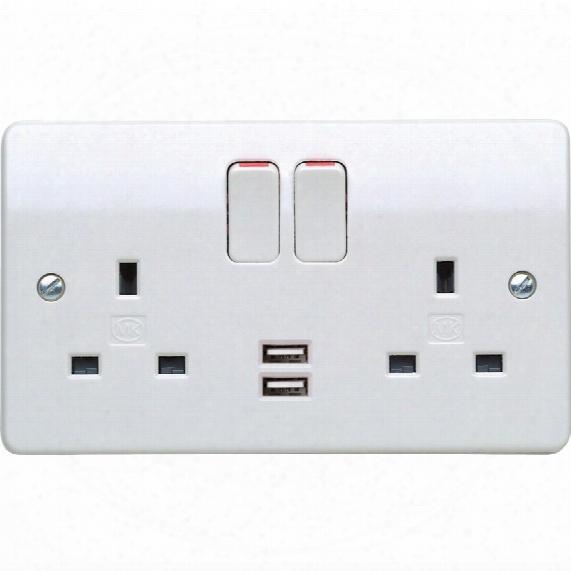 Mk Electric 2-gang Dbl Pole Switched Socket & 2 Usb Port 2a/5v