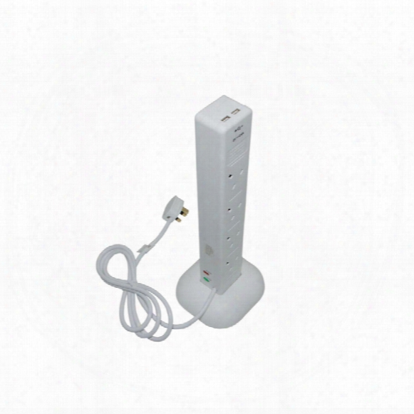 Smj S8wtusb Surge Protected Tower 8-gang 13amp Dual Usb 2.4a 2mtr