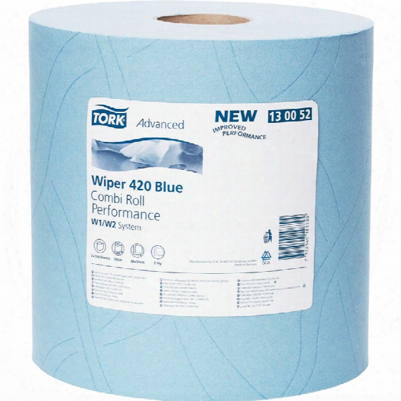 Tork 130052 Paper Plus 420 Com Bi Roll 2ply Blue (pk2)