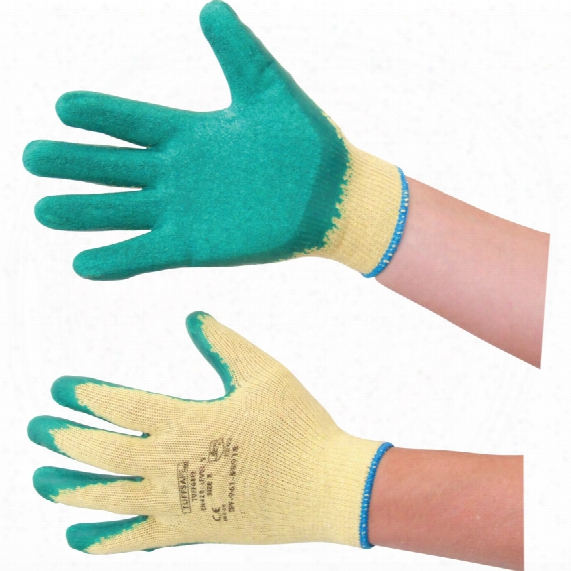 Tuffsafe Tuffgrip Palm-side Coated Green/yellow Gloves - Size 10