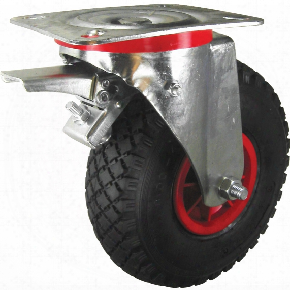 Atlas Workholders Braked Swivel Plate 200mm Pneumatic Tyre