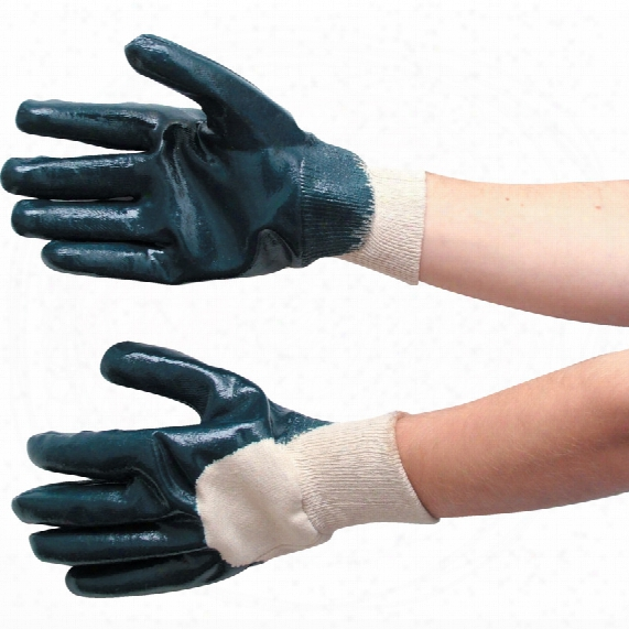 Tuffsafe Palm-side Coated Blue Knit Wrist Gloves - Size 10