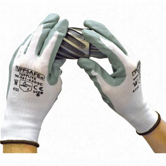 Tuffsafe Tufflite Palm-side Coated Grey/white Gloves - Size 9