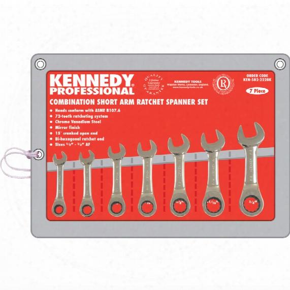 """Kennedy-pro 3/8""""-3/4"""" Af Ratchet Combination Spanner Set 7pc"""