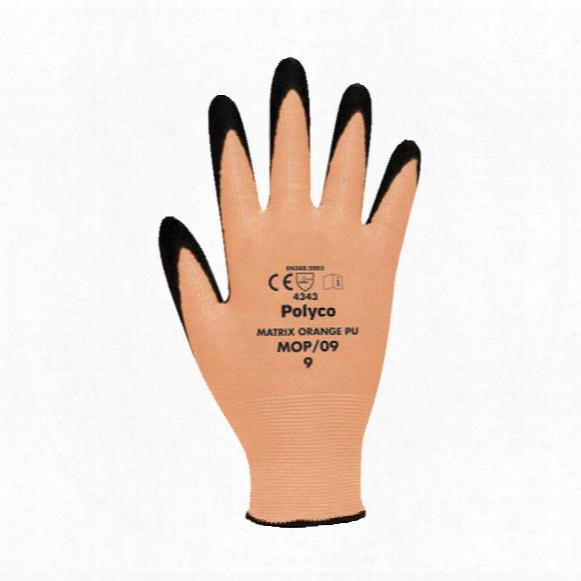 Polyco Mop/08 Matrix Orange Pu Cut Resist Gloves Size 8