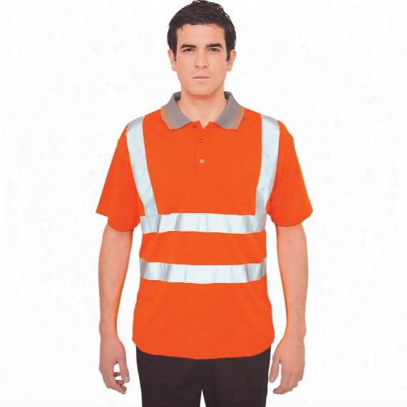 Portwest Rt22 Orange Rail Industry Hi-vis Polo Shirt Large