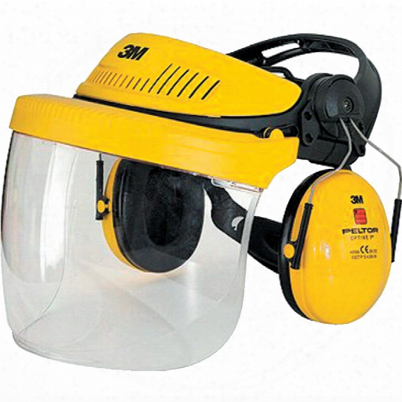 3m G500 Industrial Headgear Visor, Optime Ii Ear Muff