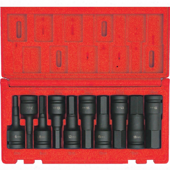 "Kennedy Hexagon Bit Driver Set Impact 1/2"" Square Drive 6mm - 19mm (10-piece)"