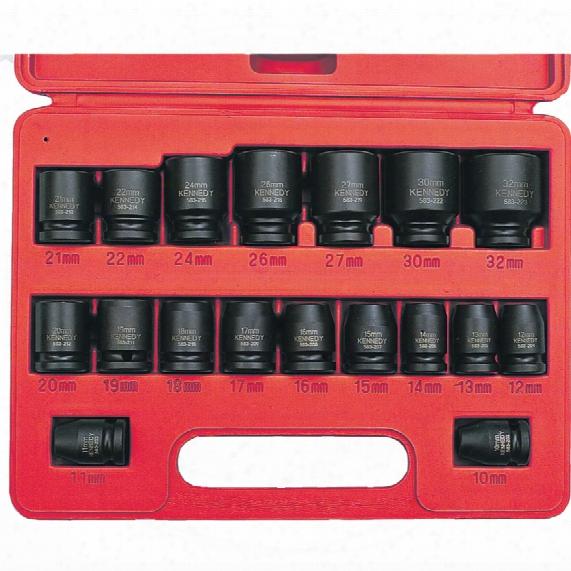"Kennedy Pm18m 18pce 1/2"" Sq Dr Impact Socket Set"
