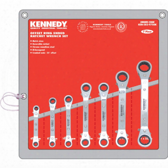 Kennedy 7pc 6-22mm Offset Ratchet Ring Spanner Set