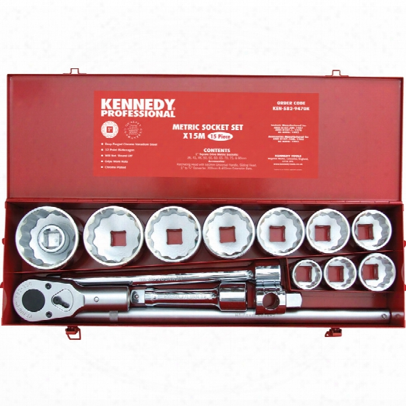 "Kennedy-pro Metric Socket Set 15pc 1"" Sq. Dr."