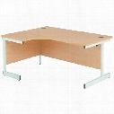 1600Mm Lh Single Cant Crescent Desk Oak