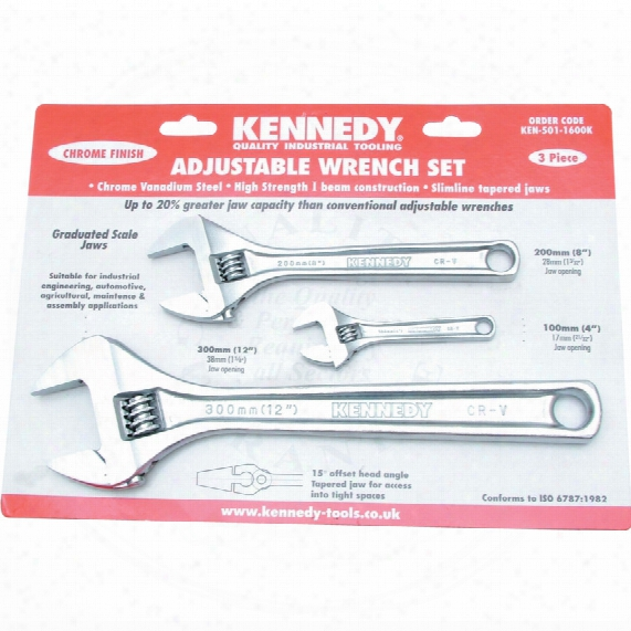 "Kennedy 4""/8""/12""chrome Finish Adjustable Wrench Set"