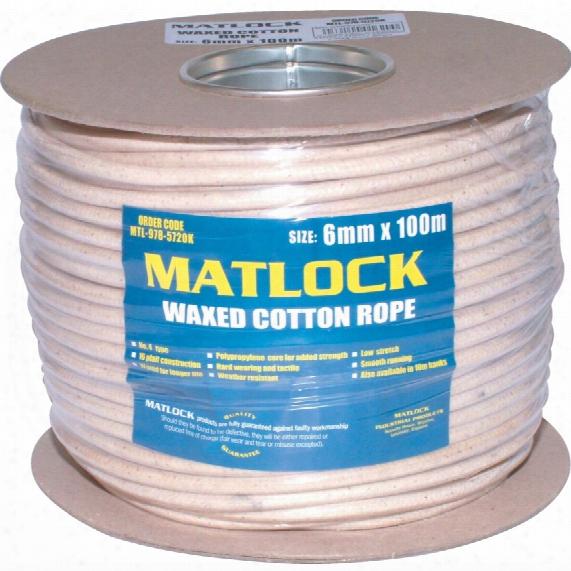 Matlock No.4-3c 6mm 16plt Wax Cotton Sash Cord 100m Reel